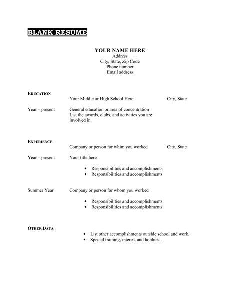 blank quick resume templates blank resume forms free printable resume templates
