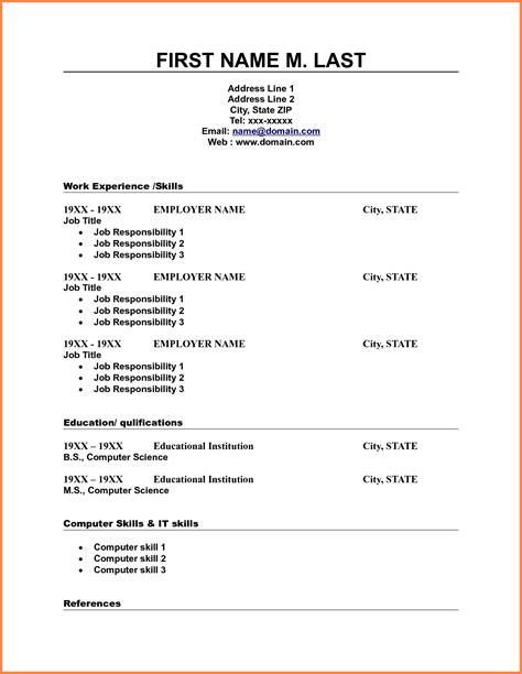 blank sample resume printable basic resume template with outline blank form - Blank Resume Template