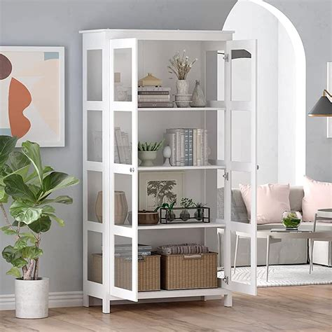 bookcase with glass doors amazon