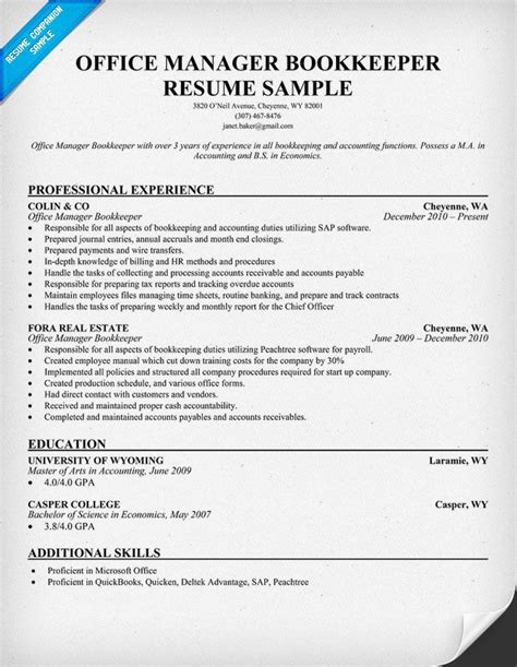 bookkeeper resume quickbooks office manager bookkeeper resume best sample resume