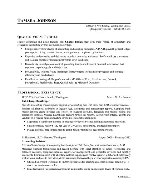 bookkeeping resume template