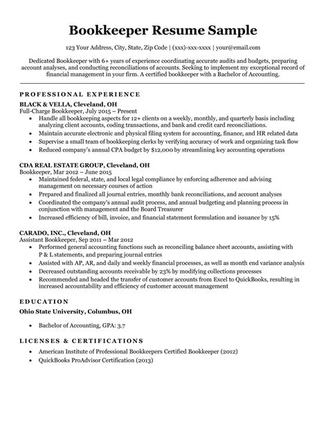 Bookkeeping Duties On Resume Bookkeeper Resume Sample And Complete Guide 20 Examples