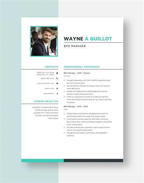 call center resume format download
