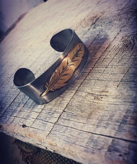 Brass Brass Feather Rustic Cuff.