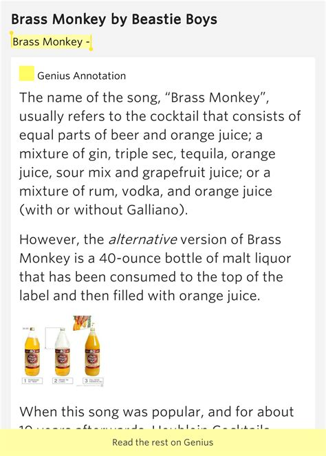 Brass Brass Monkey Lyrics.