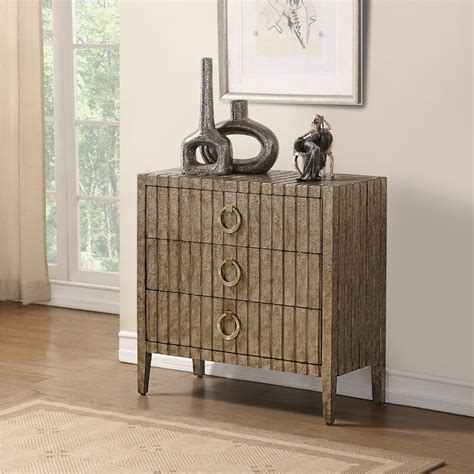 Brinsmead Traditional Stamped Ornate Metal 3 Drawers Accent Chest