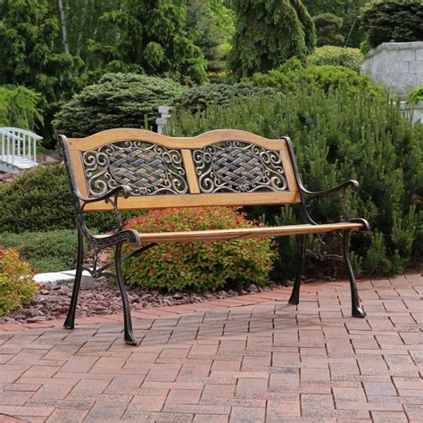 Brundidge 2-Person Crossweave Wood Patio Bench