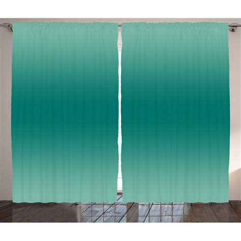 Bryana Ombre Ocean Sea Waves Inspired Light Teal Color Design for Room Decorations Digital Print Graphic Print & Text Semi-Sheer Rod Pocket Curtain Panels (Set of 2 by