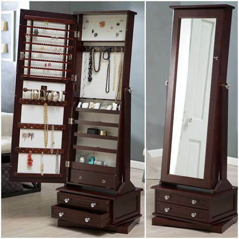 Budde Free Standing Jewellery Armoire with Mirror