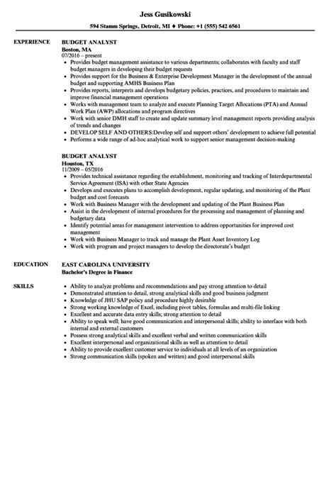 Financial Analyst Resume No Experience Budget Sample Two Finance