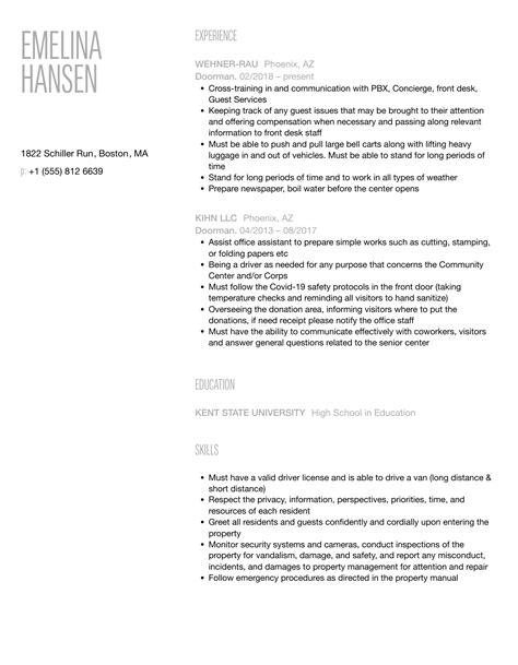 building doorman resume handyman resume sample