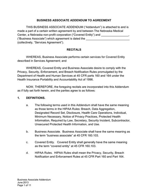 Business Associates Agreement Template | Example Cover Letter For