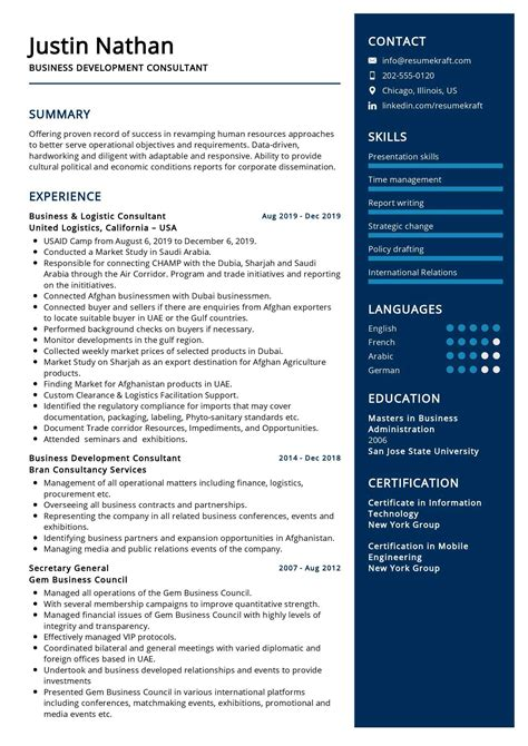 Business Development Resume Keywords World Professional Service 1