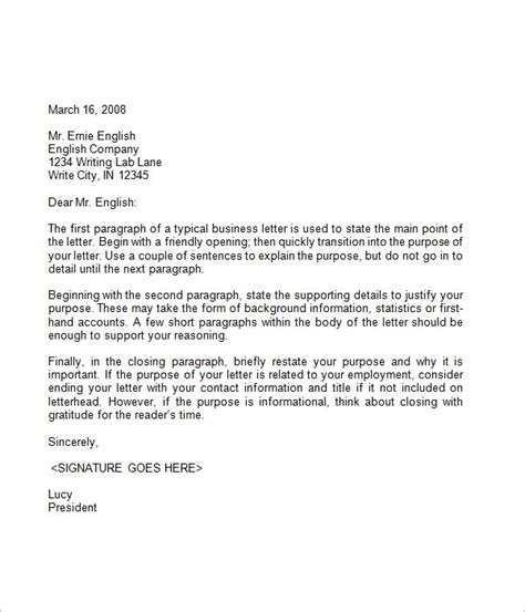 Business Letter Template English Simple Letter Of Resignation Template Best Business Template