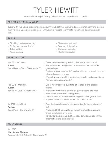 job description for a busser resume busser resume samples jobhero - Table Busser Job Description