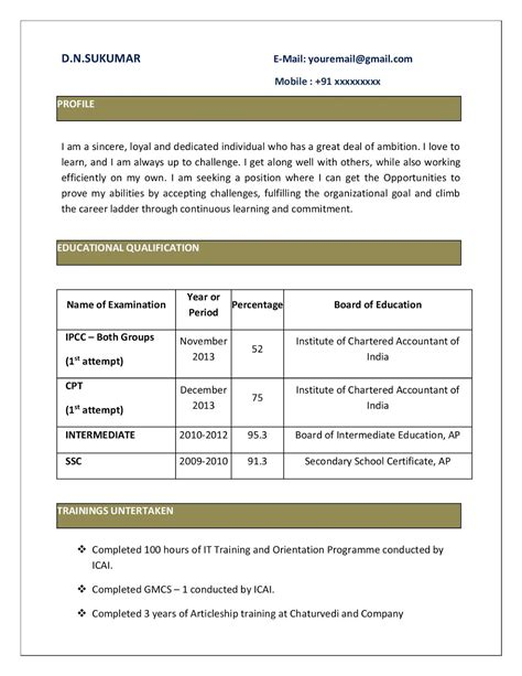 resume format in word for ca articleship resume ixiplay free