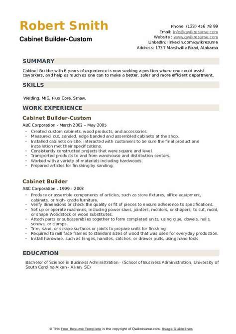 Custom cabinet maker resume