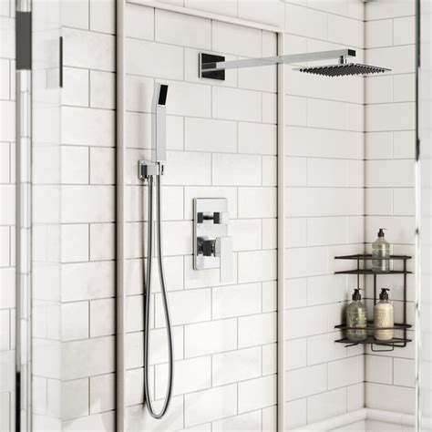 Cahoon Diverter Complete Shower System with Square Rain Shower, Handheld Shower and Lever Handle