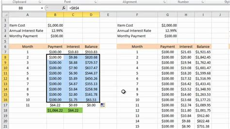 Credit Card Apr Formula Excel Calculating Credit Card Payments In Excel 2010 Youtube