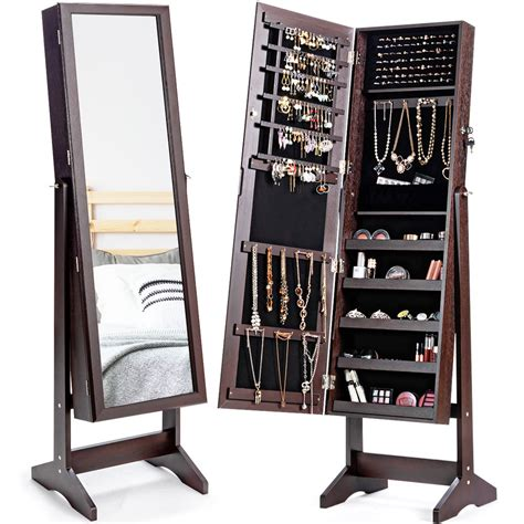Calderon Lockable Free Standing Jewelry Armoire with Mirror