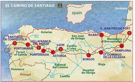 Camino Santiago Walk Map