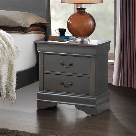 Camron Contemporary 2 Drawer Wood Top Nightstand