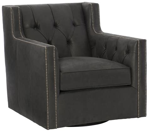 Candace Leather Swivel Club Chair