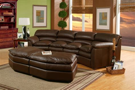 Canyon Leather Conversation Sofa with Ottoman