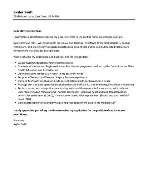 Resume Cover Letter Charge Nurse Cardiac Slideshare
