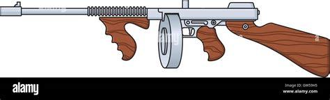 Tommy-Gun Cartoon Tommy Gun Front View.