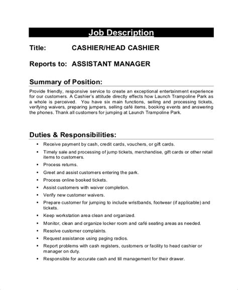 description cashier skills and duties resume. Resume Example. Resume CV Cover Letter