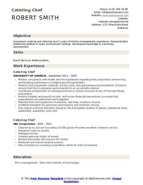 catering chef resume
