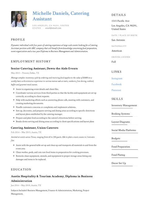 catering cv examples uk catering assistant cv template sample dayjob - Catering Resume
