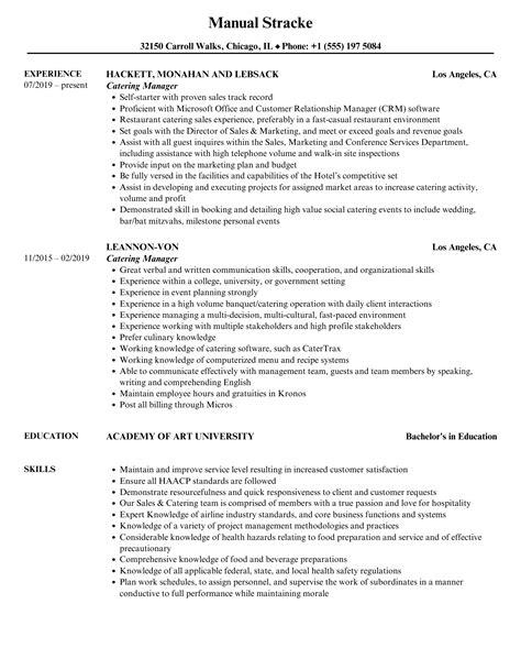 resume catering manager catering manager resume free resume builder