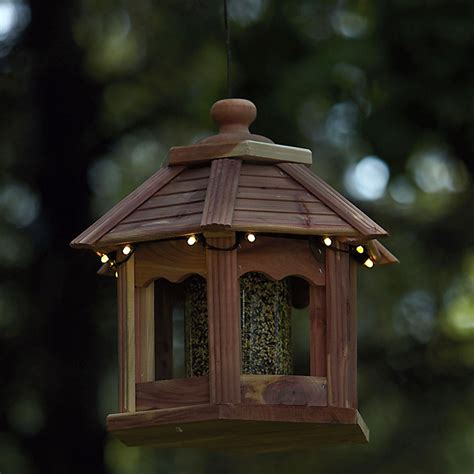 cedar gazebo bird feeders