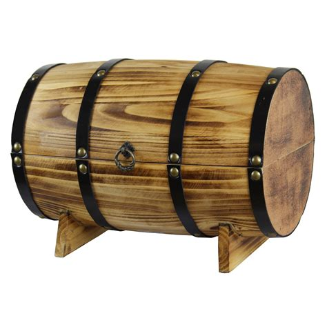 Cedar Wooden Wine Barrel Treasure Chest