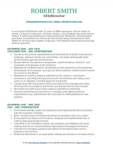 Ceo Resume Samples Doc 10 Ceo Resume Templates Free Word Pdf