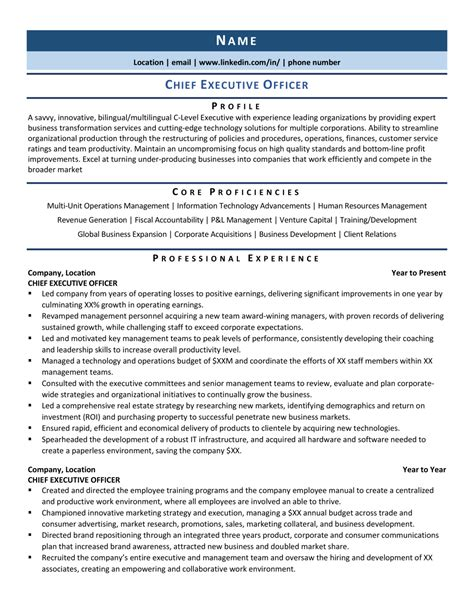 Ceo Resume Samples Doc Ceo Chief Executive Officer Resume Workbloom