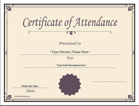 Certificate attendance template free download resume work usa certificate attendance template free download free certificate of attendance template design yelopaper Image collections