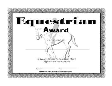 Horse riding lesson gift certificate template images certificate equestrian award certificate template image collections yadclub Images