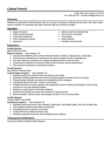 resume sample for forklift operator certified forklift operator resume sample livecareer - Forklift Operator Resume Sample