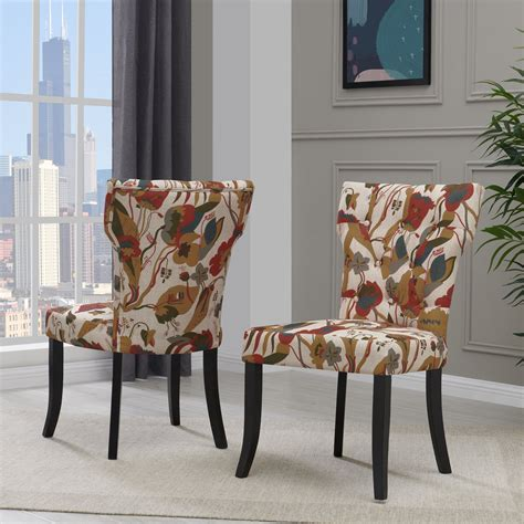 Champaign Floral Upholstered Dining Chair (Set of 2)
