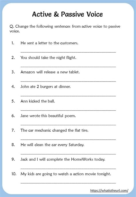 change passive voice to active voice exercises pdf