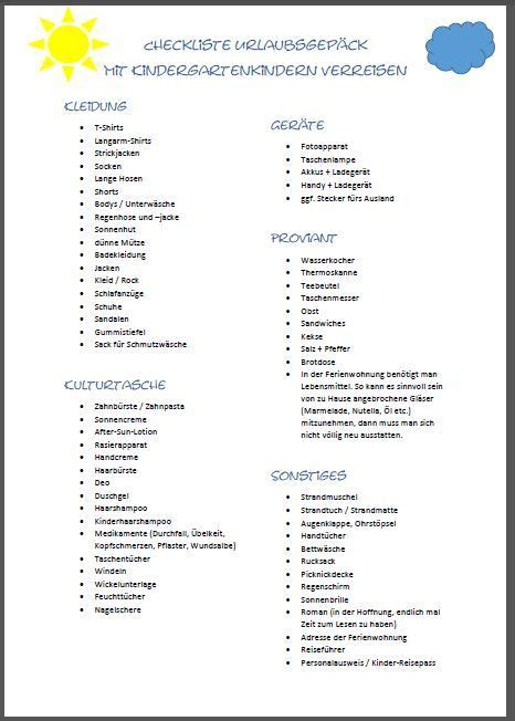 Checkliste Urlaub Ferienwohnung
