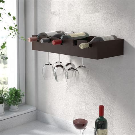 Cheever 5 Bottle Wall Mounted Wine Rac by