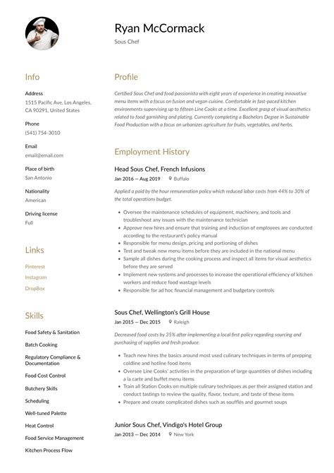 chef resume objective resume how to write for work experience