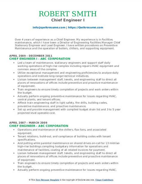 sample resume for hotel engineer chief engineer resume samples jobhero - Hotel Maintenance Engineer Sample Resume