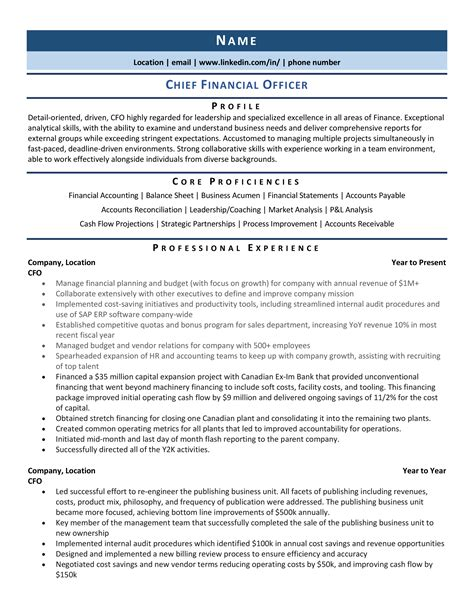 Bank Clerk Resume Sample Chief Financial Officer
