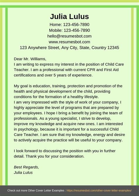 child care skills resume example cover letters and