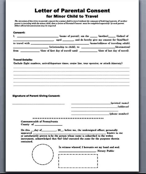Child Consent Form For Travel Uk Travel Consent Form Permission To Travel Letter